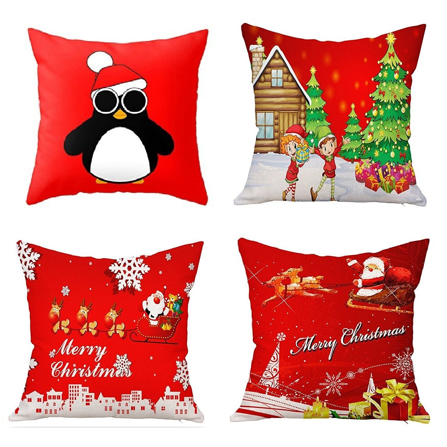 NATURALSHOW Merry Christmas Series Throw Pillow Case Decorative Cushion Cover Pillowcase Square 18in-Set of 4 (pattern 1#, 18*18 IN)