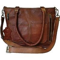 Madosh Women's Shoulder Tote Genuine Leather Shopping Handbag Vintage Crossbody Bag Ladies Purse