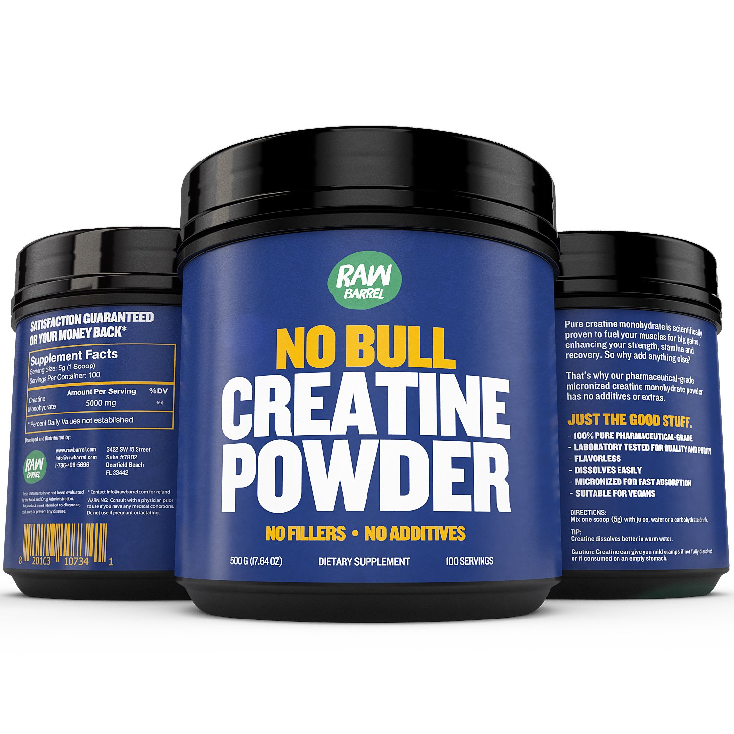Raw Barrel's - Pure Creatine Powder - SEE RESULTS OR YOUR MONEY BACK - 500g Unflavored and Micronized Monohydrate - with *FREE* digital guide