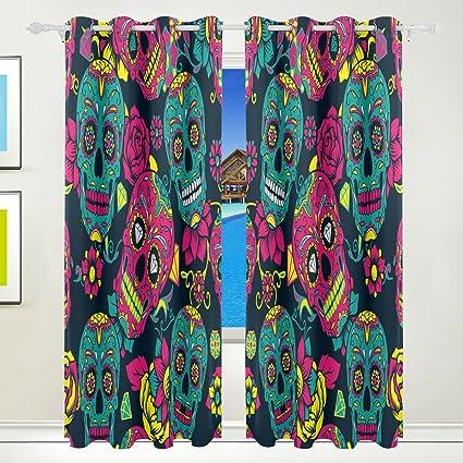 wozo día de los muertos calavera cortina de ventana paneles DRAPE 84 x 55 pulgadas,