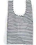 BAGGU Large Reusable Shopping Bag, Foldable Ripstop Nylon Tote for Laundry or Shopping, Sailor Stripe