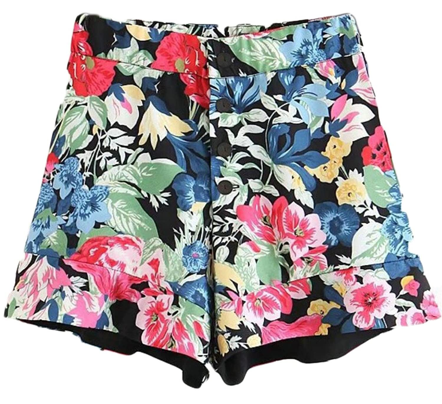 GenericWomen Generic Women's Fashion High wast Floral Print Single-Breasted Sport Pants Hot Pants for sale