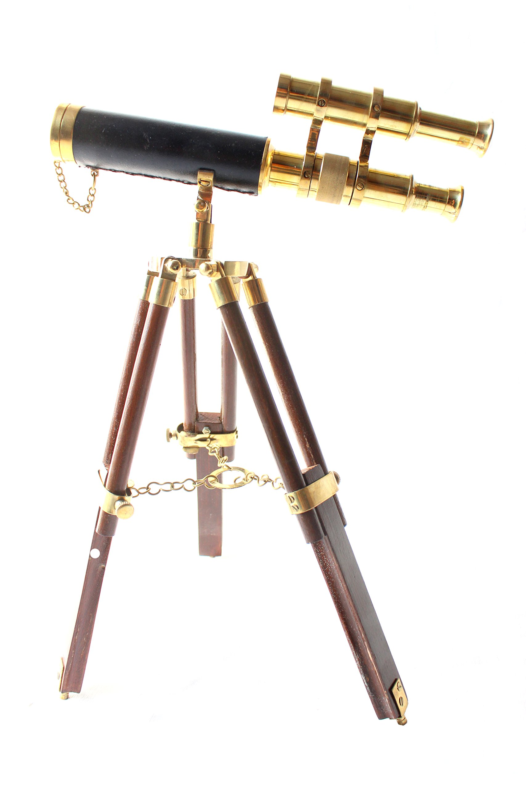 Nautical Vintage Telescope Wooden Tripod Collectible Brass Finish & Brown Desktop Gift-replica