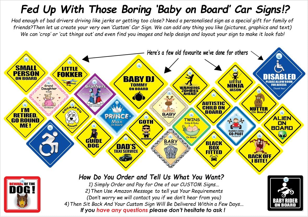 Baby On Board Sign Style for Children in The Car Grandkids On Board Car Sign Suction Cup Car Window Sign