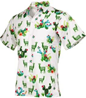 a1255196c Funny Guy Mugs Men's Llama and Cactus Hawaiian Print Button Down Short  Sleeve Shirt