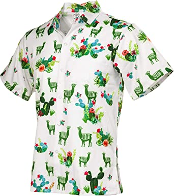 Funny Guy Mugs - Camiseta de Manga Corta para Hombre, diseño Hawaiano de Llamas y Cactus - Blanco - Large: Amazon.es: Ropa y accesorios