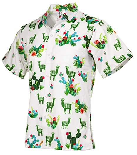 f963c555 Amazon.com: Funny Guy Mugs Men's Llama and Cactus Hawaiian Print Button Down  Short Sleeve Shirt: Clothing
