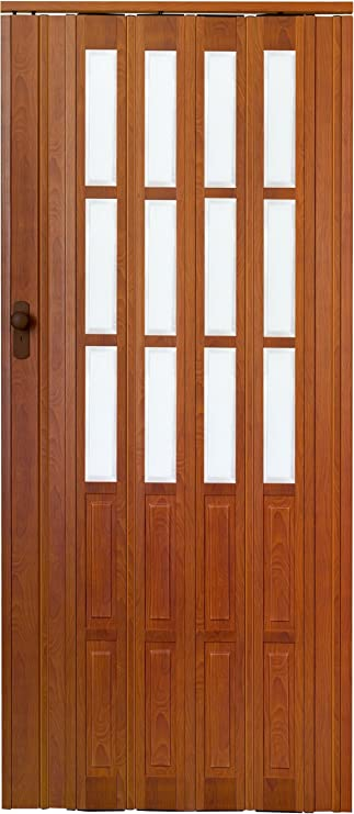 Puerta corredera de madera de roble oscuro con ventana y candado - llave de decir 203 cm ejemplo 116 cm doble de la pared de perfil, New: Amazon.es: Bricolaje y herramientas