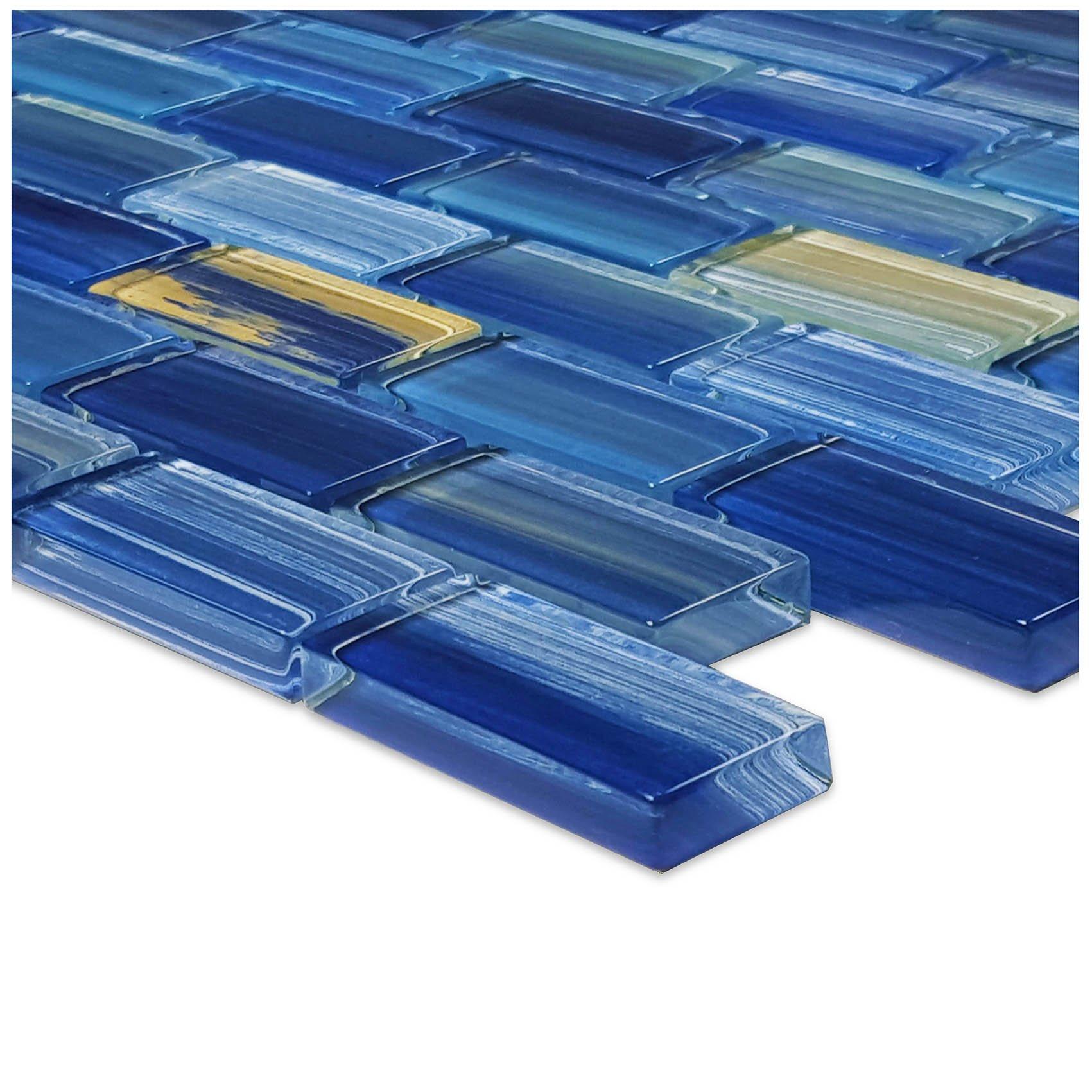 Blue Watercolor Glass Tile Blend 1'' x 2''