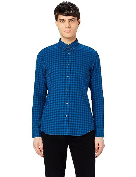 MERAKI Camisa de Cuadros Entallada de Algodón Hombre m4JxeRaY