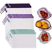 Lotus Produce Bags - Set of 9. Washable, Reusable, eco-Friendly. 3 Different Sizes. Perfect for Fruits, Vegetables, Nuts and More