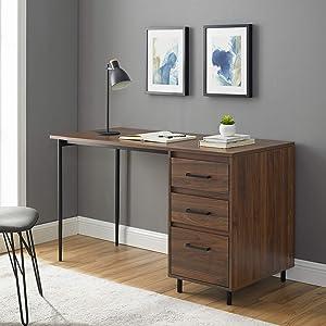 Walker Edison 3 Drawer Modern Wood and Metal Computer Writing Desk Home Office Workstation Small 52 Inch, Dark Walnut