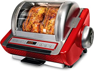 Ronco Showtime EZ-Store Large Capacity Rotisserie & BBQ Oven, Digital Controls, Compact Storage, Perfect Preset Rotation Speed, Self-Basting, Auto Shutoff, Includes Multipurpose Basket, red