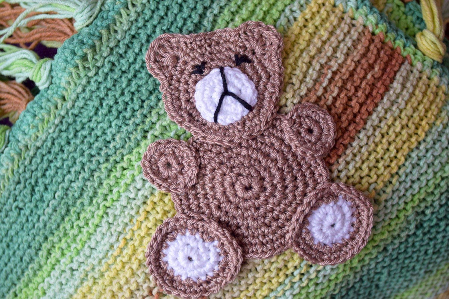 Teddy bear crochet applique woodland animals sewing accessory kids