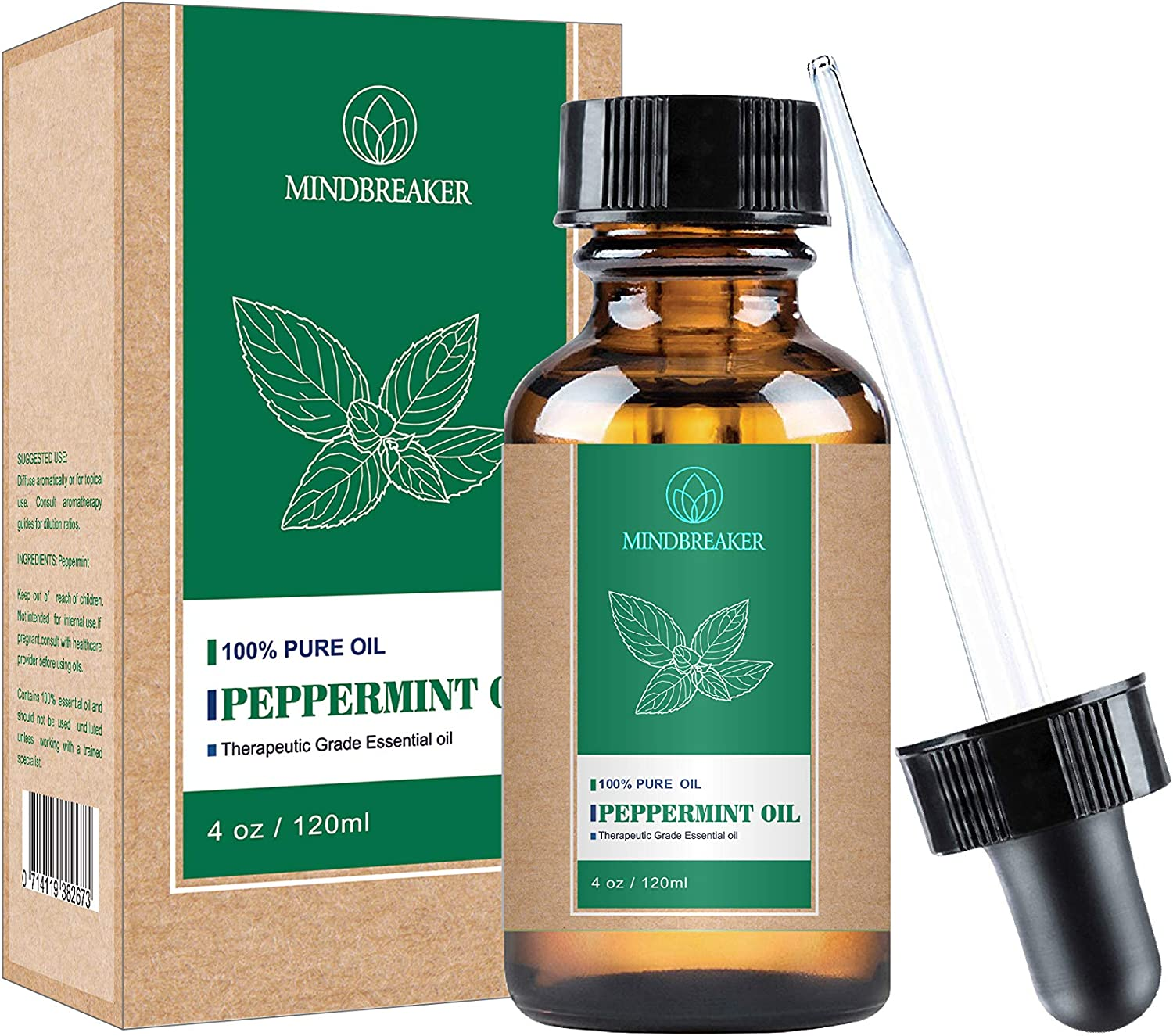 Peppermint Essential Oil, 100% Pure Organic and Natural, Therapeutic Grade for Diffuser,Relaxation, Hair and Body Blends (Peppermint oil-4oz)