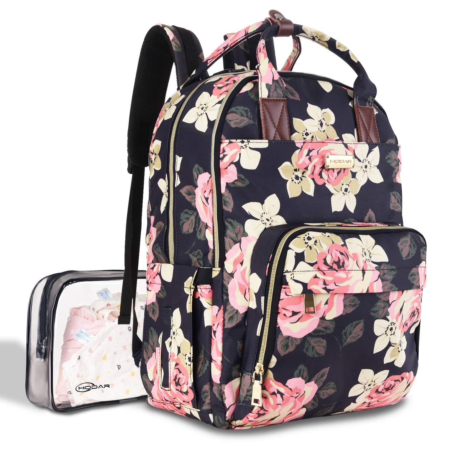 Diaper Bag Backpack, Large Capacity Baby Nappy Changing Bag Multi-Function Waterproof Travel Back Pack for Mom Dad, with Large Insulated Pocket and Independent Wet Cloth Bag by Hodar