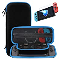 Nintendo Switch Carry Case + Premium Tempered Glass Screen Protector, Portable Protective Hard Shell Cover Travel Storage Bag with 10 Game Cartridge for Nintendo Switch Console & Accessories (Blue)