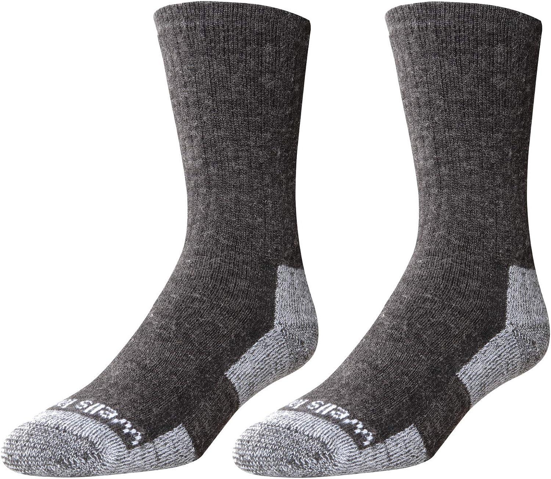 2-Pair Pack Wells Lamont Men's Gray Wool Blend Crew Socks: Warm, Durable, Comfortable Work Socks, Made In The USA ; Men's Sizes 10-12 ½