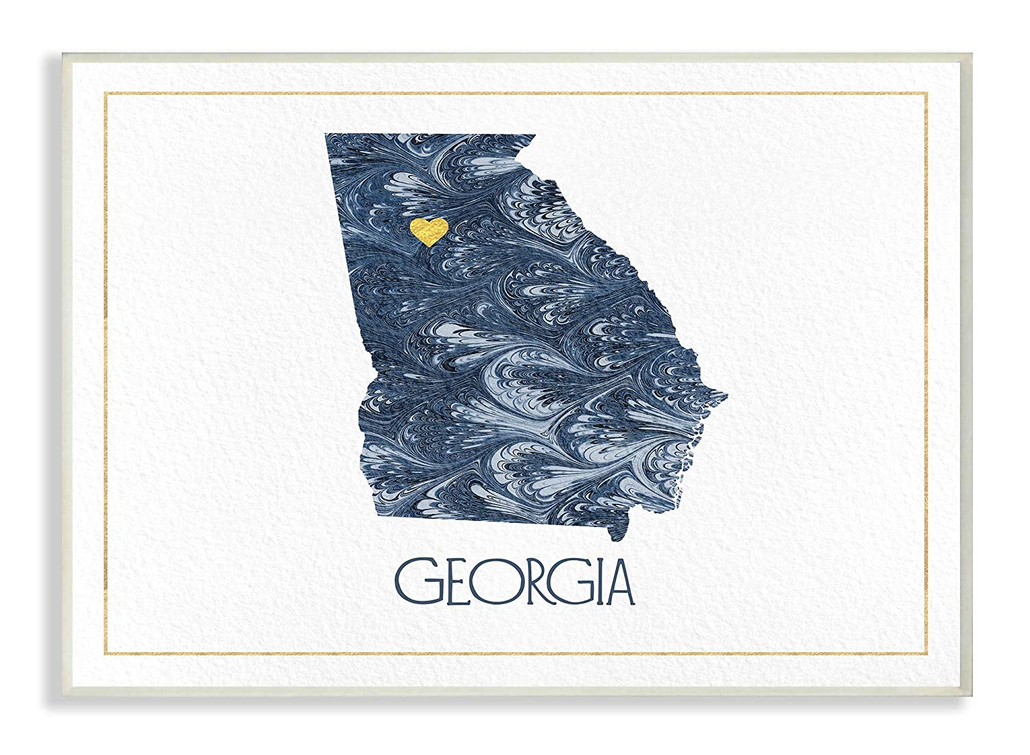 Multi-Color The Stupell Home Decor Georgia Minimal Blue Marbled Paper Silhouette Framed Giclee Texturized Art 11 x 14