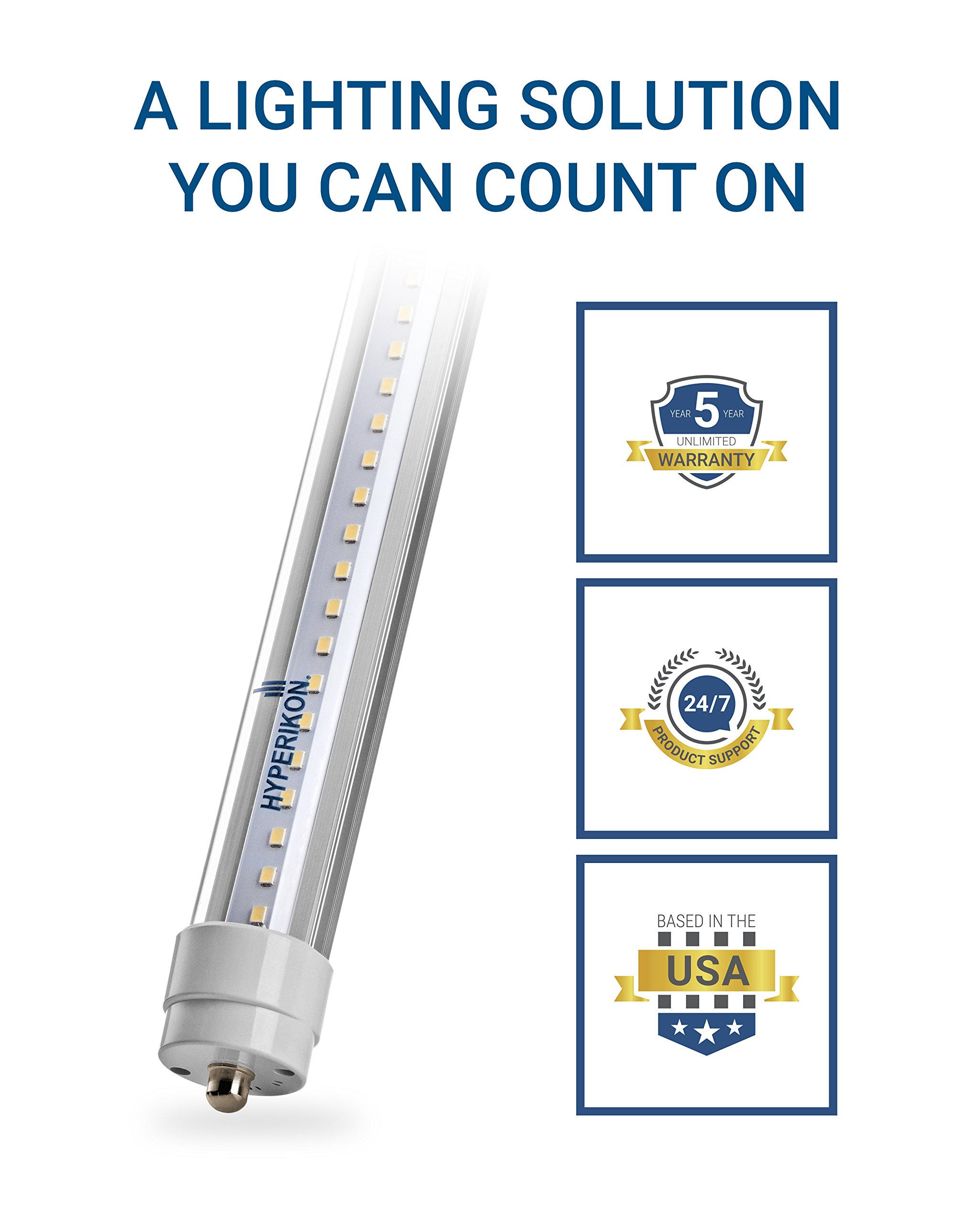 Hyperikon T8 T10 T12 8ft LED Tube Light, 36W (75W Equiv.), Dual-End Powered, Ballast Bypass, Shatterproof, Fluorescent Replacement, 5000k, Clear, 4400 Lumens, Workshop, Warehouse, Garage - 12 Pack by Hyperikon (Image #9)