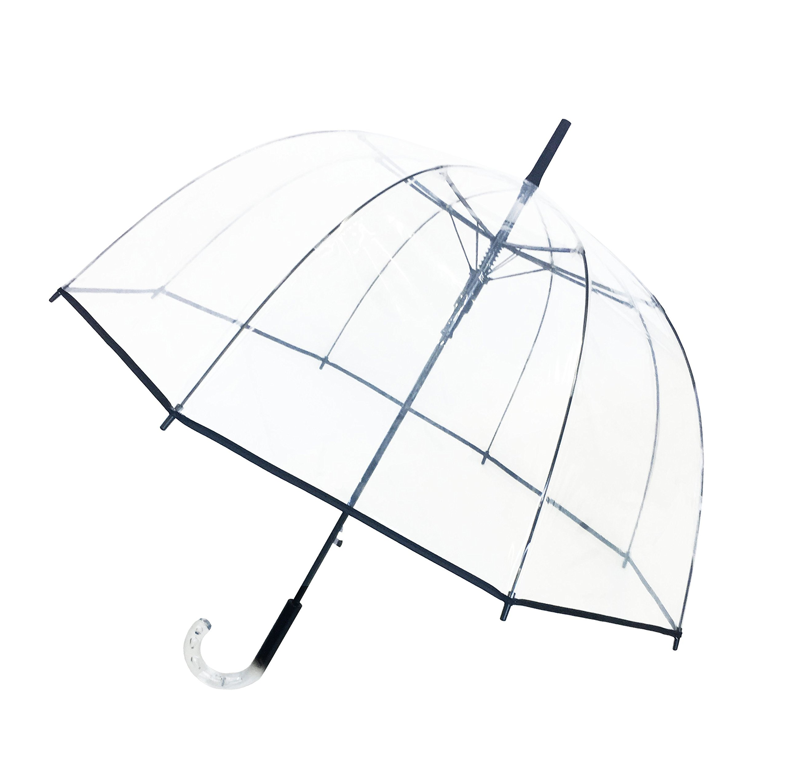 SMATI Stick Automatic Clear Stars Umbrella - Birdcage Dome See Through(Transparent)