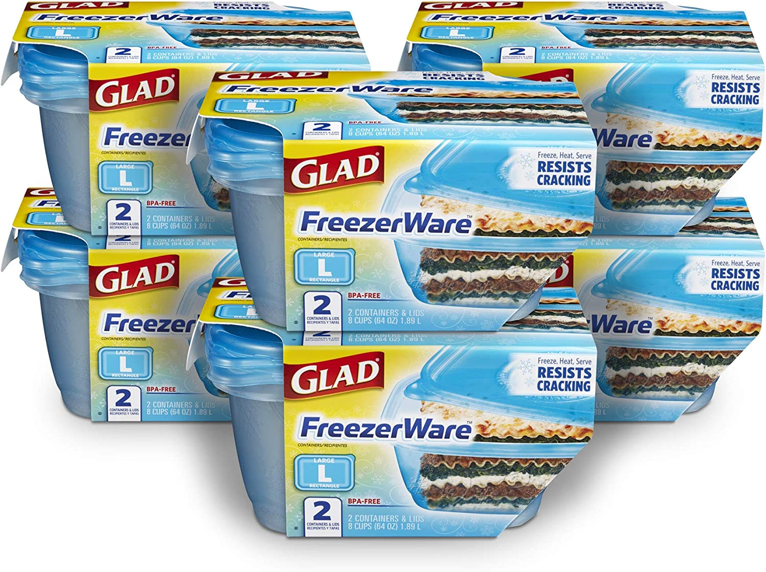 Glad Freezerware Food Storage Containers, Large Rectangle-(64 Oz) -2 Count