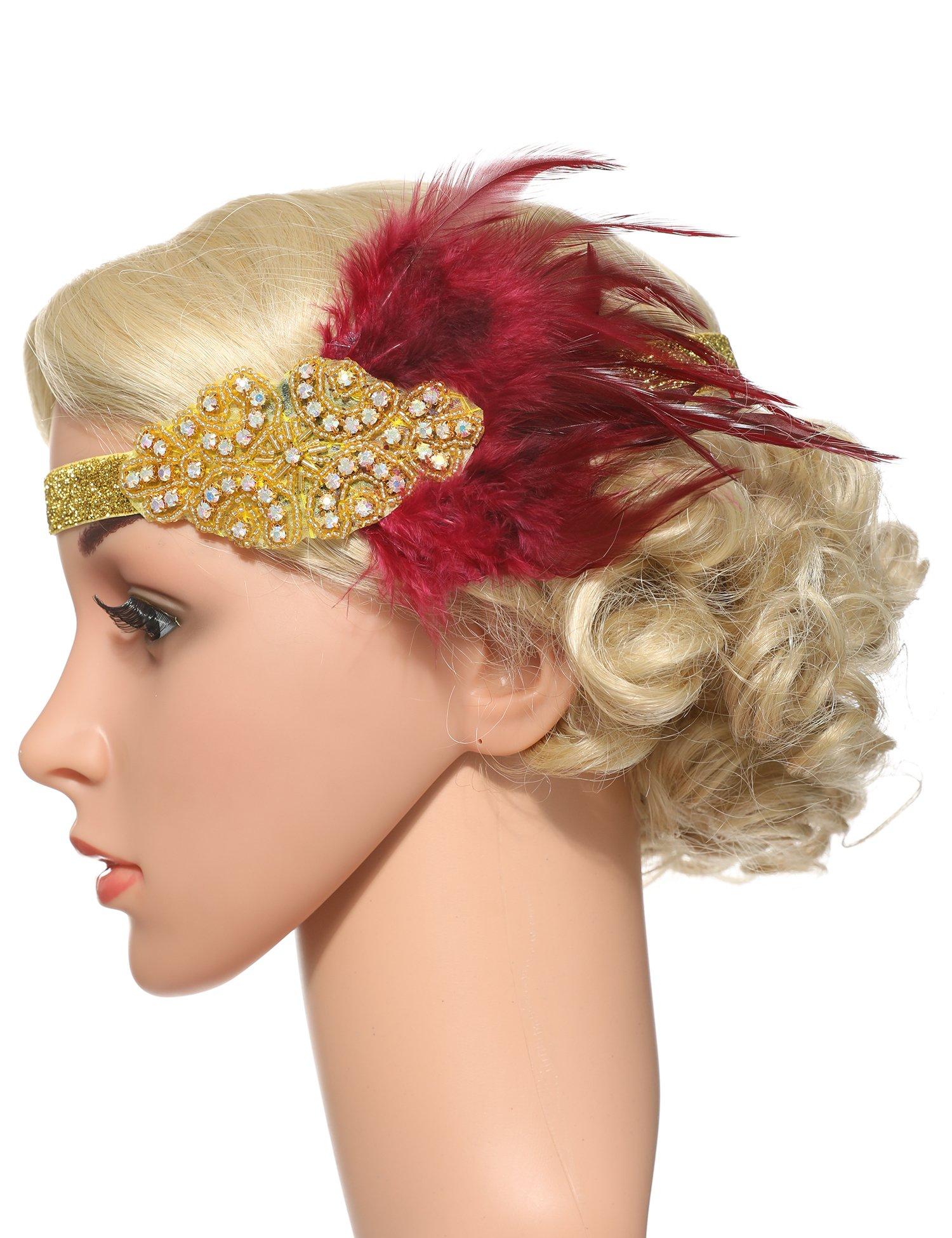 Flapper Girl Feather Flapper Headpiece Wedding 1920s Gatsby Headbands Crystal (WineRed-Gold)