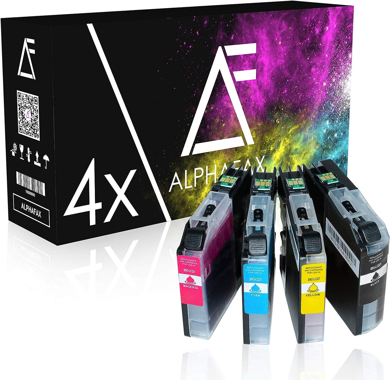 Alphafax 4 Tintenpatronen Kompatibel Für Brother Lc 221 Für Brother Dcp J562dw Mfc J480dw Mfc J680 Mfc J880 Mfc J1100 Series Lc221bk Schwarz 3ml Color Je 3ml Bürobedarf Schreibwaren
