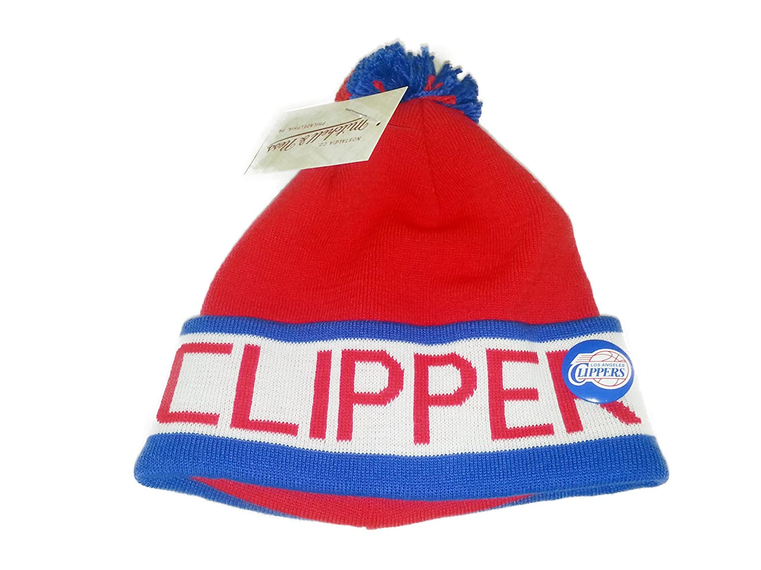 Mitchell & Ness NBA Clippers Vintageブロックポンポン付きニット帽   B00GAGYVCQ