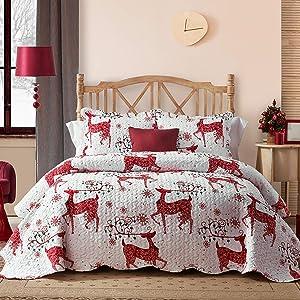 Hansleep Christmas Quilt Set with Reindeer Printed Pattern, Comforter Bedding Cover Lightweight Bedspread Bed Decor Coverlet Set for All Season (Christmas Red Reindeer, King)