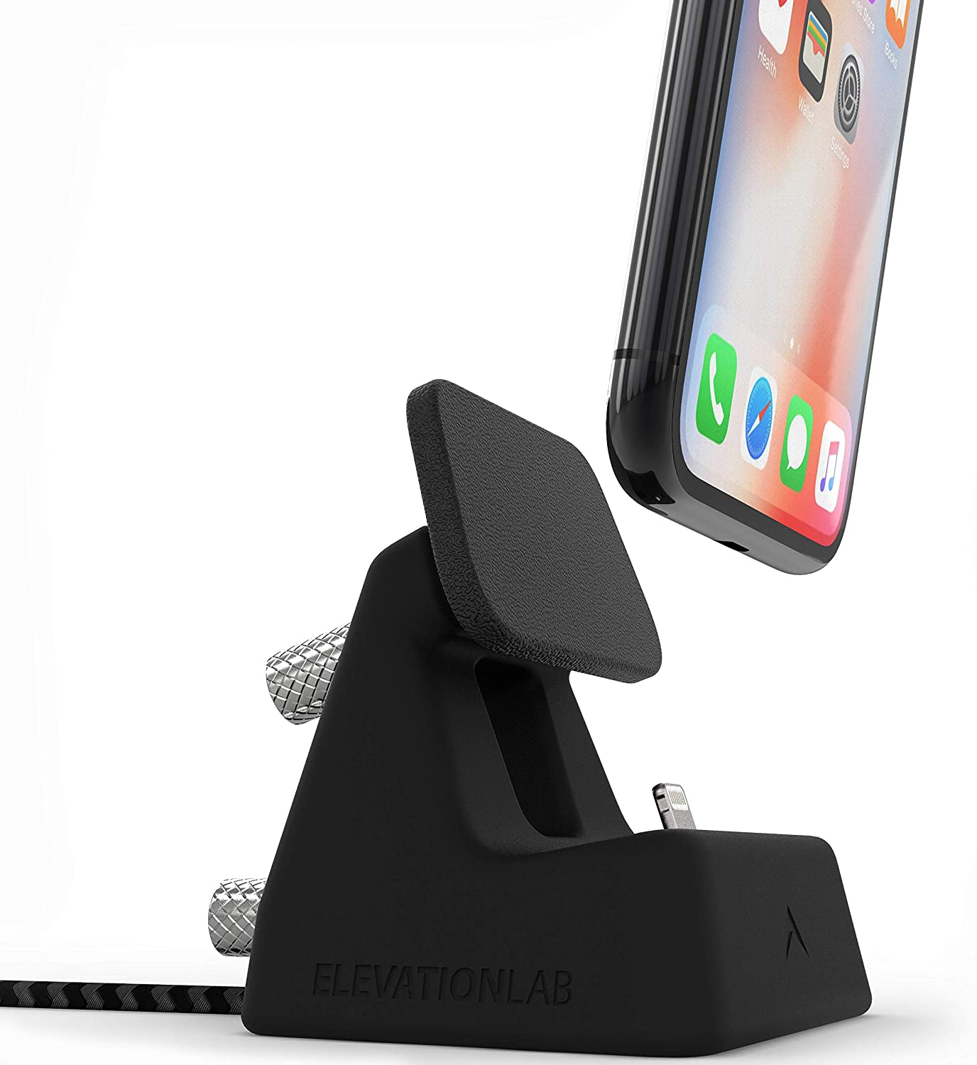 Elevation Lab ElevationDock 4 MFi Apple iPhone Dock with One-Hand Undocking - Chrome/Black