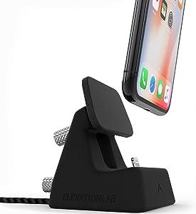 Elevation Lab ElevationDock 4 MFi Apple iPhone Dock with One-Hand Undocking - Chrome/Black