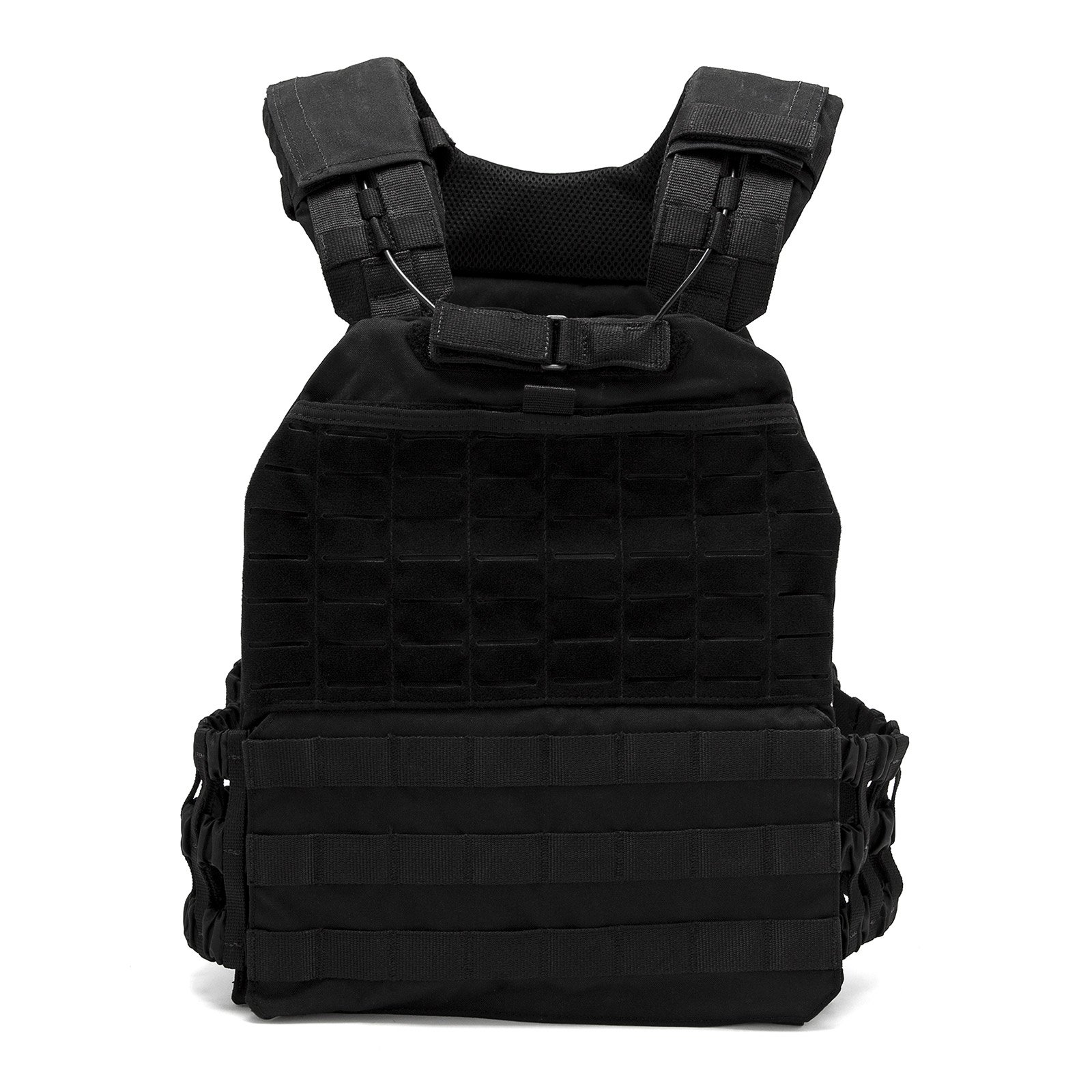 Fringe Sport Adjustable Tactical Weight Plate Vest / 10lb, 15lb or 20lb / Modular Plate Carrier for Training & Conditioning (15lb, Black)