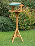 New Traditional Wooden Bird Table Garden Feeder Wood House Feeding Station Summer