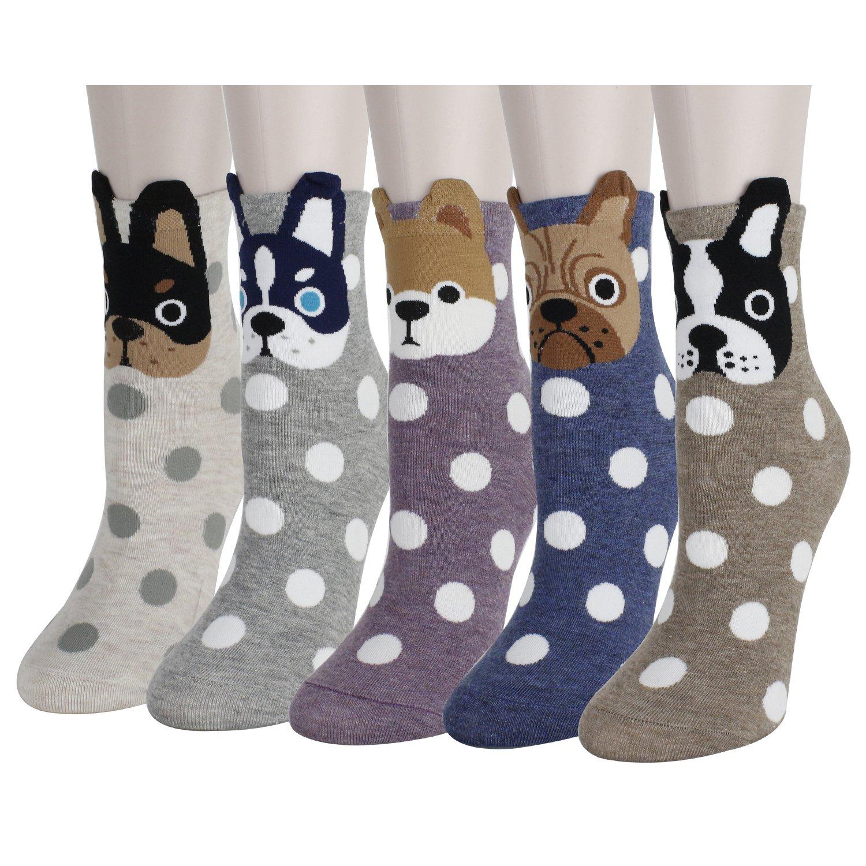 Zmart 5 Pack Women Girls Cute Cool Cat Dog Funny Novelty Socks Valentine's Gift
