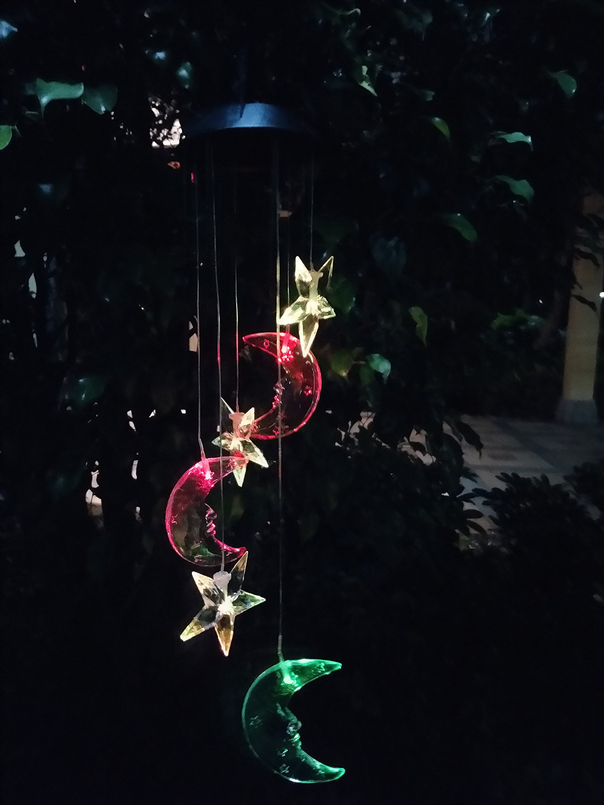 WiVison Mobile Lamp Multi-color Wind Spinner Solar Energy Hanging Windbell Night Light Waterproof Led Powered Spiral Windchime for Home Garden Patio Lawn Landscape Pond Pool Yard Decro Moon & Star