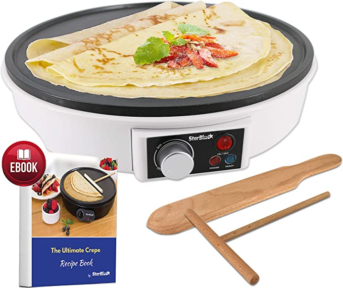 """12"""" Electric Crepe Maker by StarBlue with FREE Recipes e-book and Wooden Spatula - Nonstick and Portable Pan, Compact, Easy Clean with On/off button AC 120V 50/60Hz 1000W"""