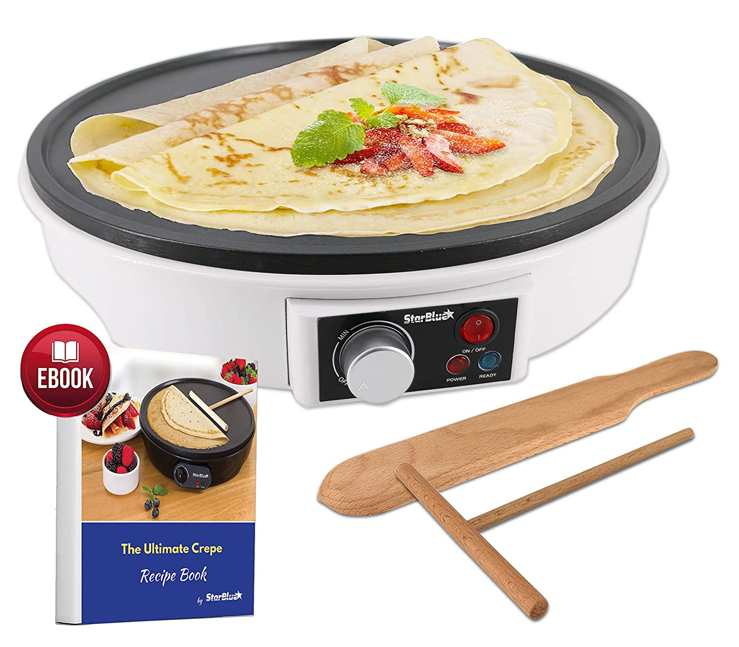 "12"" Electric Crepe Maker by StarBlue with FREE Recipes e-book and Wooden Spatula - Nonstick and Portable Pan, Compact, Easy Clean with On/off button AC 120V 50/60Hz 1000W"