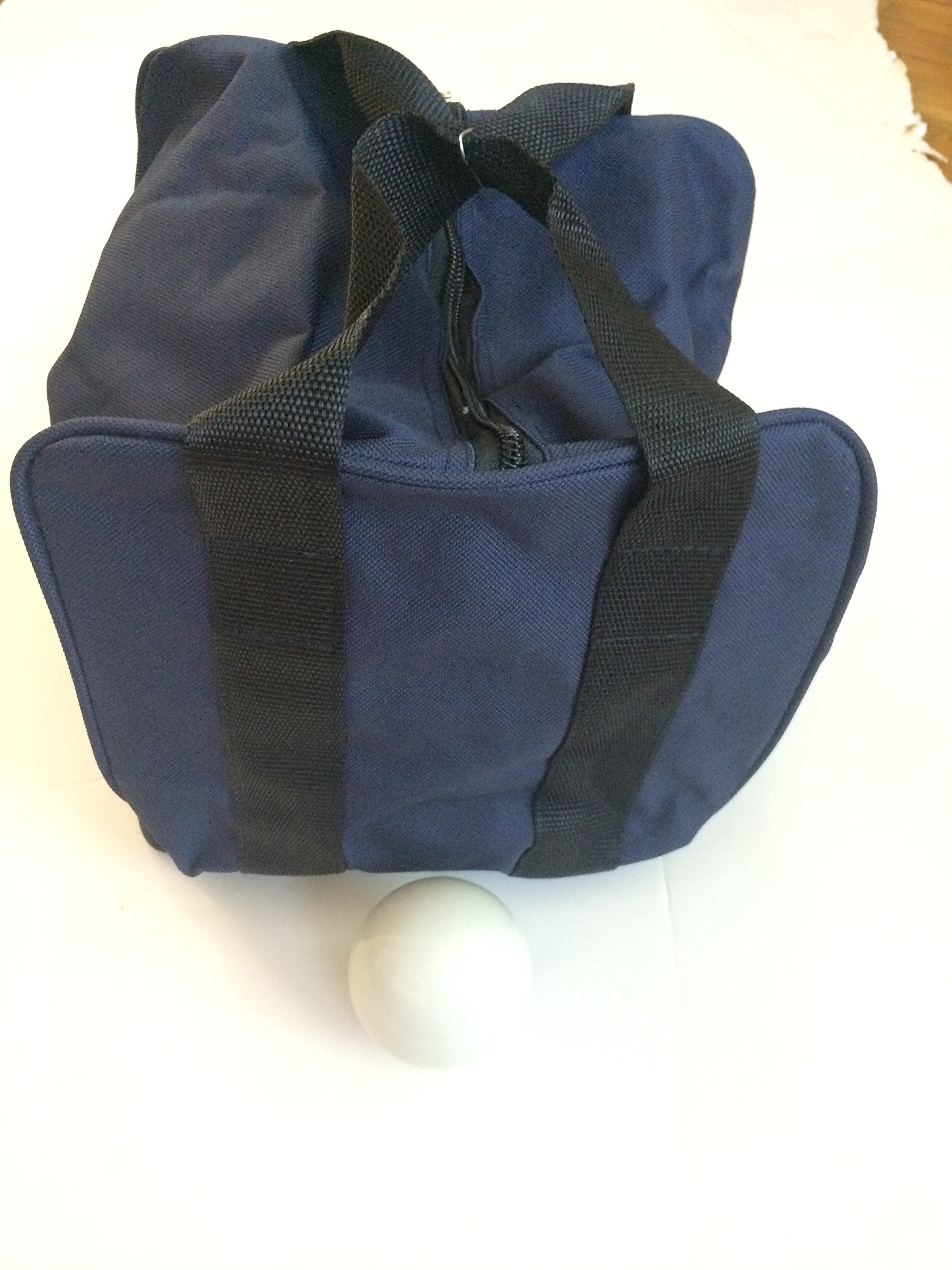 Unique Bocce Accessories Package - Extra Heavy Duty Nylon Bocce Bag (Blue with Black Handles) and White pallina by BuyBocceBalls