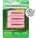 TICONDEROGA Pink Carnation Erasers, Wedge, Medium, Pink, 3-Pack (X38943)