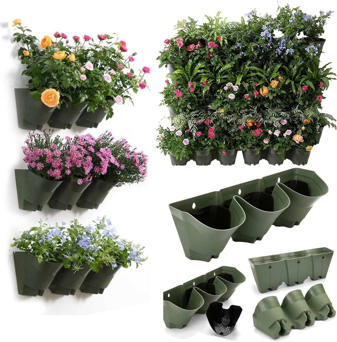 Sungmor 9 Pockets Vertical Planter,Living Wall Hanging Pots,Worth Garden Self Watering Flower Pot,Indoor Outdoor Wall & Rail & Fence Decoration