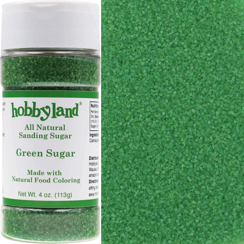 Hobbyland All Natural Sanding Sugar (Green Sugar, 4 oz) Made with ...