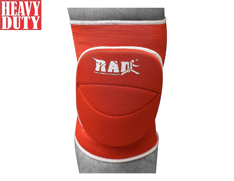 Rad 1つペアポリコットンNonslip伸縮性ファイバー膝パッドプロテクタースポーツバレーボールFootballジム レッド Junior