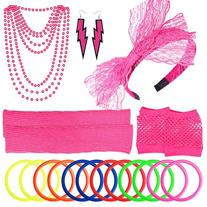80s Costumes, Outfit Ideas- Girls and Guys PAXCOO Womens 80s Outfit Costume Accessories Set Neon Headband Earrings Fishnet Gloves Leg Warmers Necklace Bracelet $14.99 AT vintagedancer.com