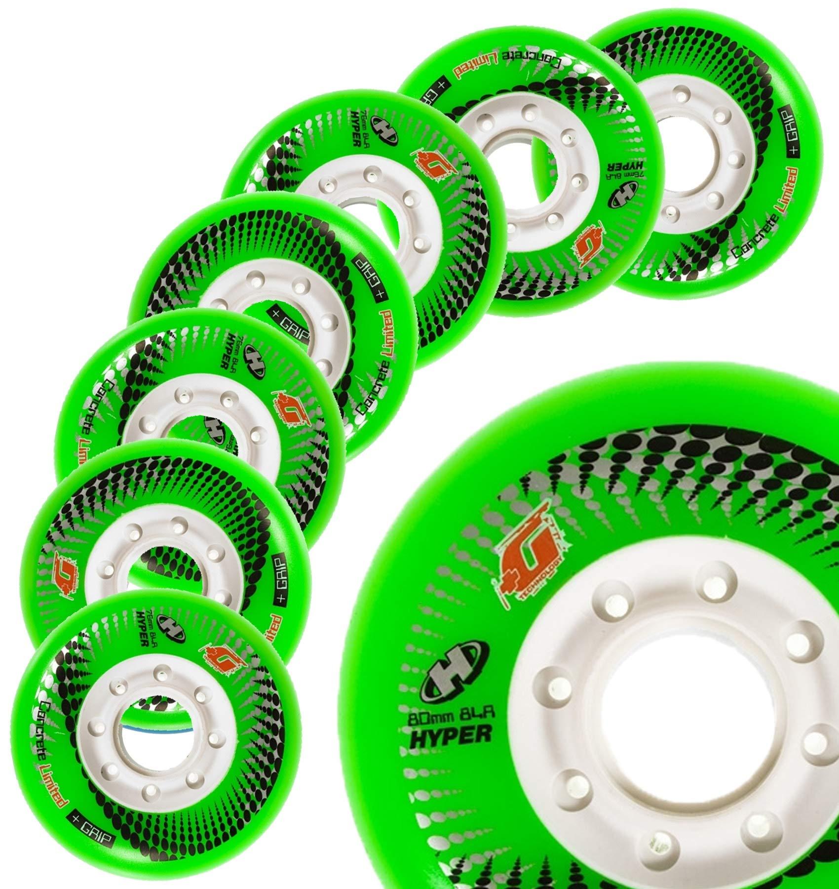 Inline Skate Wheels Hyper Concrete +G - 8 Wheels - 84A - Sizes: 72MM, 76MM, 80MM - Freeride, Slalom, Fitness, Urban - Colors: White, Black, Orange, Green, Cyan, Red (Green, 80MM) by Hyper Wheels