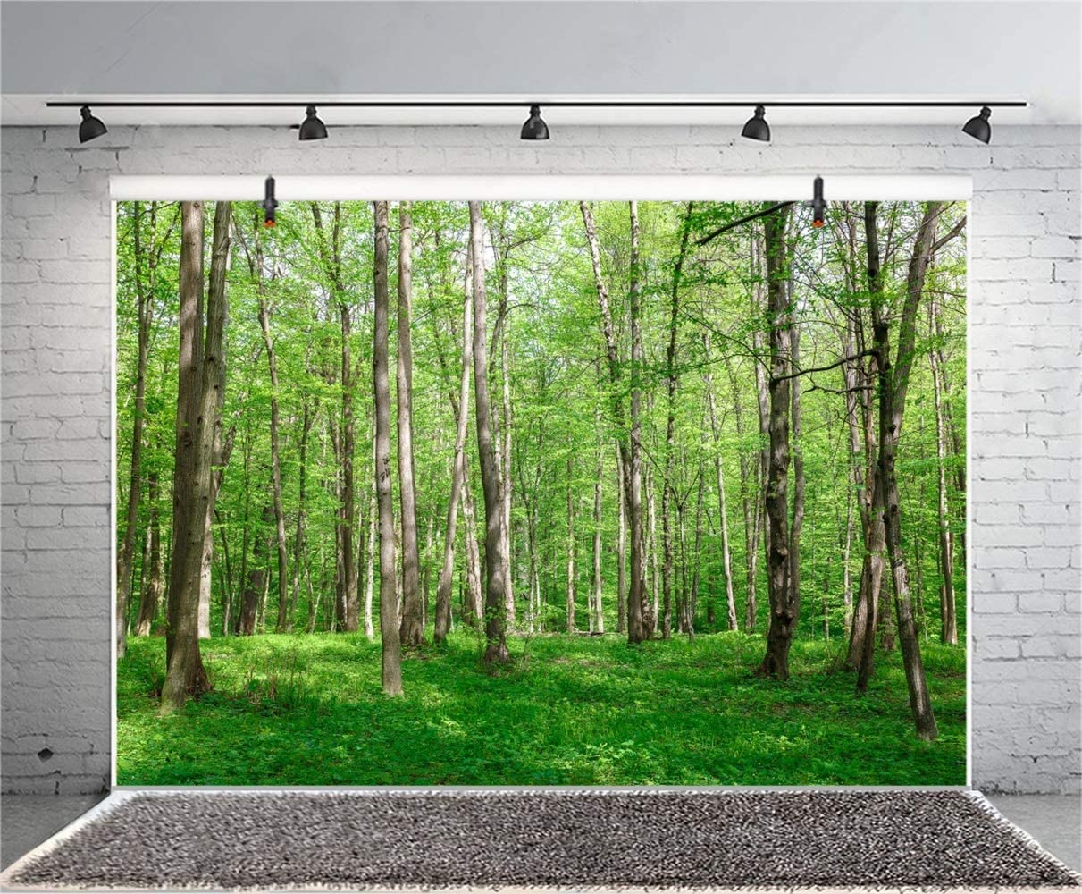 10x7ft Spring Vibrant Forest Trees Vinyl Photography Background Lush Shrubwood Green Weed Backdrop Spring Scenic Landscape Wallpaper Camping Shoot Studio Props