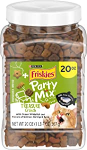 Purina Friskies Made in USA Facilities Cat Treats, Party Mix Treasure Crunch - 20 oz. Canister