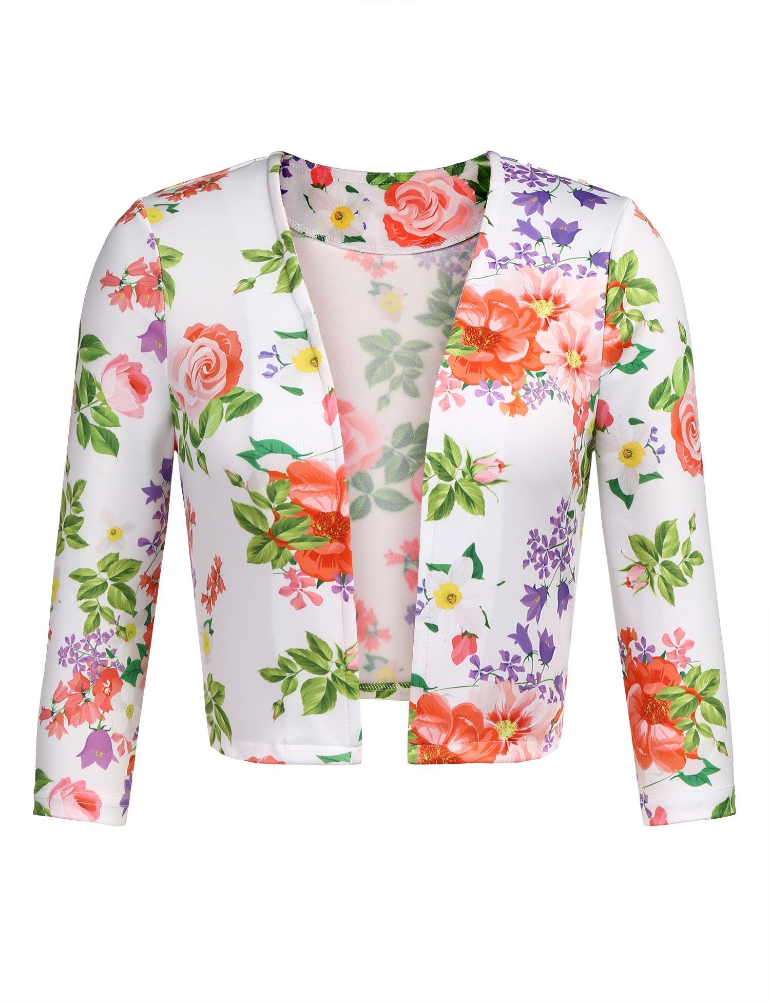 Zeagoo Women Shrug Jacket Vintage Floral Print Blazer 3/4 Sleeve Coat Casual Outerwear Tops White XL,Floral-white,X-Large