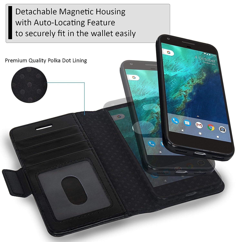 a0282b5a325f Navor Detachable Magnetic Wallet Case for Google Pixel 2 [RFID Protection]  [Logo Hole] [Vajio Series]-Black