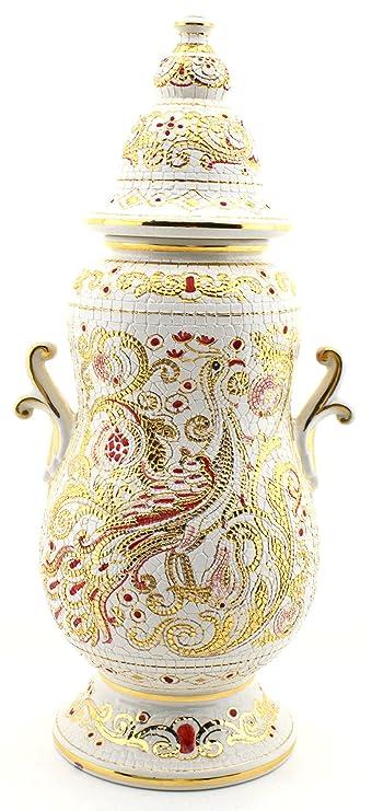Art Escudellers Tarro Ceramica Pintado a Mano con Oro de 24K, Decorado al Estilo BIZANTINO Blanco. 22cm x 19cm x 47cm: Amazon.es: Hogar